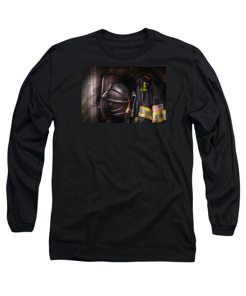 Fireman - Worn And Used Long Sleeve T-Shirt by Mike Savad