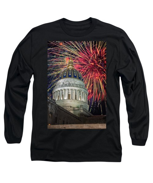Fireworks At Wv Capitol Long Sleeve T-Shirt by Mary Almond