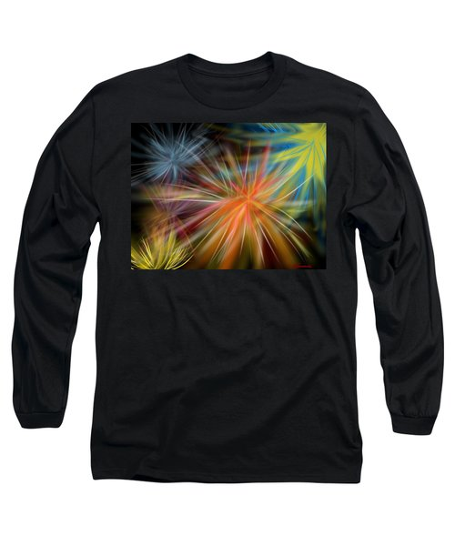 Long Sleeve T-Shirt featuring the digital art Fireworks by Christine Fournier