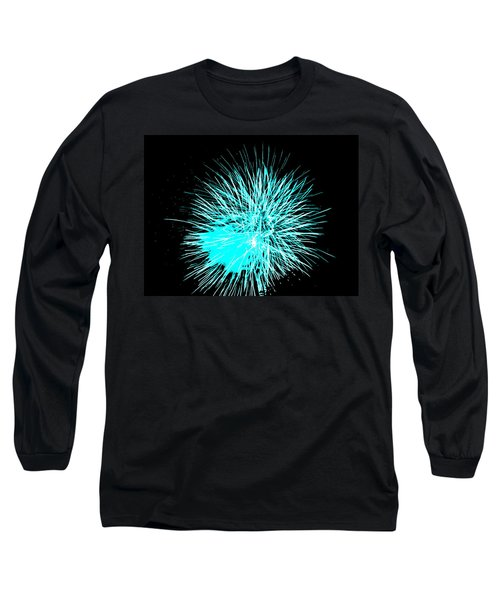 Long Sleeve T-Shirt featuring the photograph Fireworks In Blue by Michael Porchik