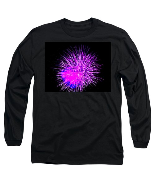 Long Sleeve T-Shirt featuring the photograph Fireworks In Purple by Michael Porchik
