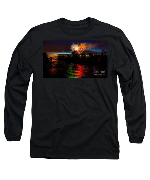 Long Sleeve T-Shirt featuring the photograph Fireworks Over Willamette River Eugene Oregon by Michael Cross