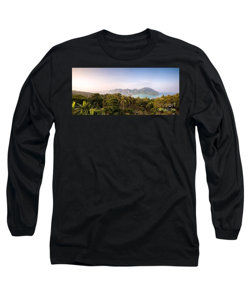 First Light Over Tropical Island Long Sleeve T-Shirt