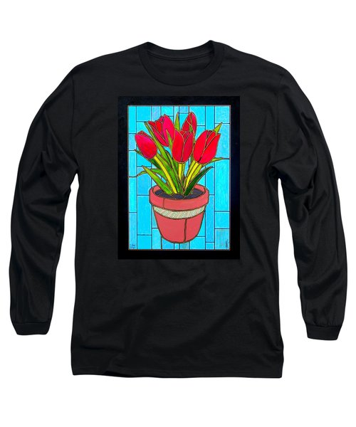 Five Red Tulips Long Sleeve T-Shirt by Jim Harris
