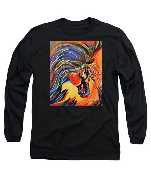 Long Sleeve T-Shirt featuring the painting Flame Bold And Colorful War Horse by Janice Rae Pariza
