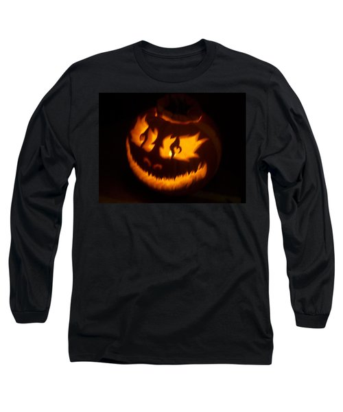 Long Sleeve T-Shirt featuring the photograph Flame Pumpkin Side by Shawn Dall
