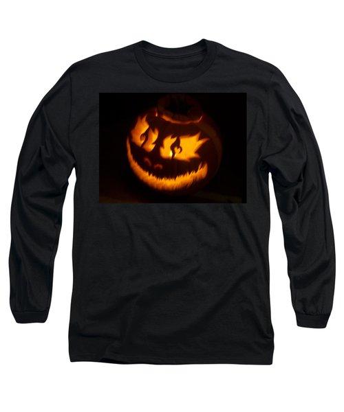 Flame Pumpkin Side Long Sleeve T-Shirt