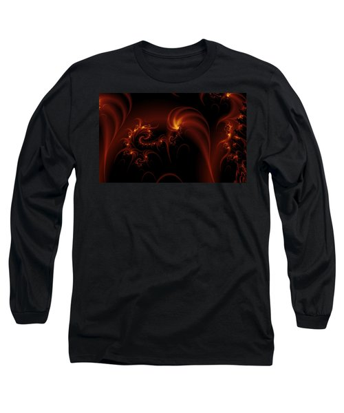 Floating Fire Fractal Long Sleeve T-Shirt by Fran Riley