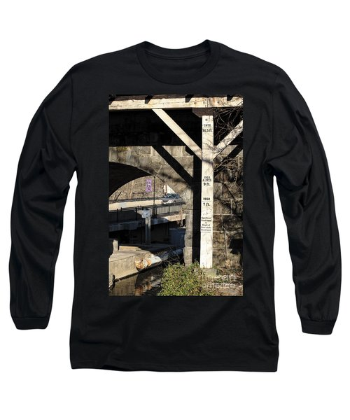 Flood Height Sign At Ellicott City Maryland Long Sleeve T-Shirt