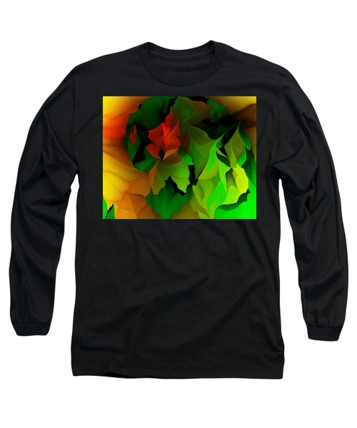 Long Sleeve T-Shirt featuring the digital art Floral Abstraction 090814 by David Lane
