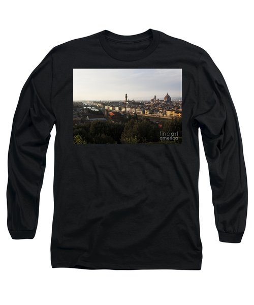 Long Sleeve T-Shirt featuring the photograph Florence Form The Piazza Michalengelo by Belinda Greb