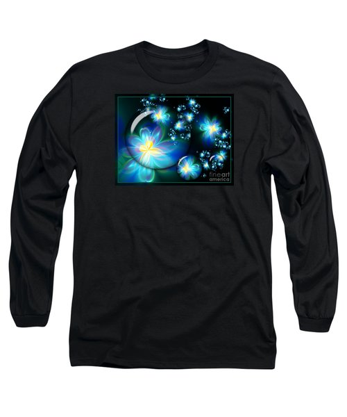 Flower Marble Fractal Long Sleeve T-Shirt by Lena Auxier