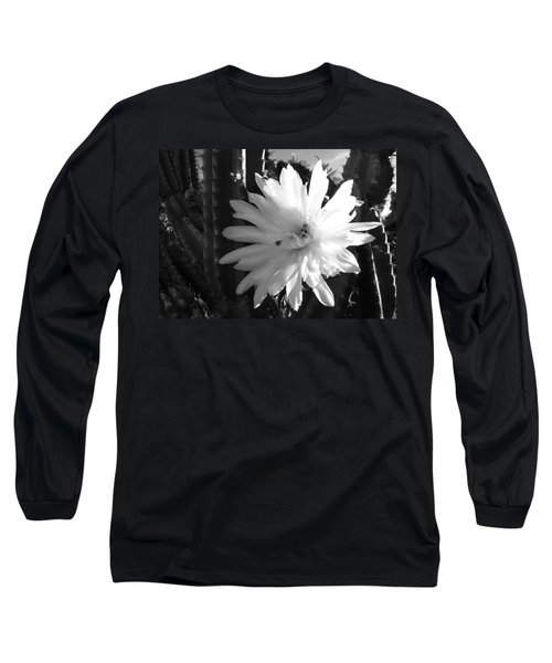 Flowering Cactus 1 Bw Long Sleeve T-Shirt by Mariusz Kula