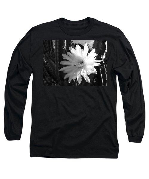 Flowering Cactus 1 Bw Long Sleeve T-Shirt