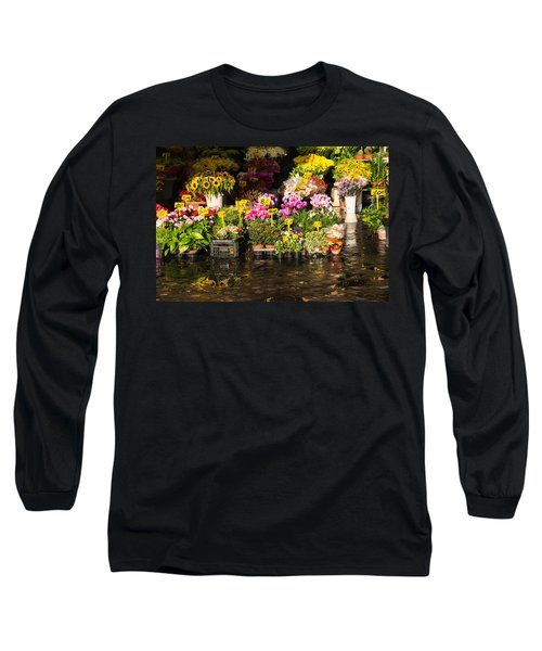 Flowers For Sale At Campo De Fiori - My Favourite Market In Rome Italy Long Sleeve T-Shirt