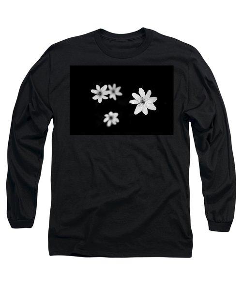 Flowers In Black Long Sleeve T-Shirt by Shane Holsclaw
