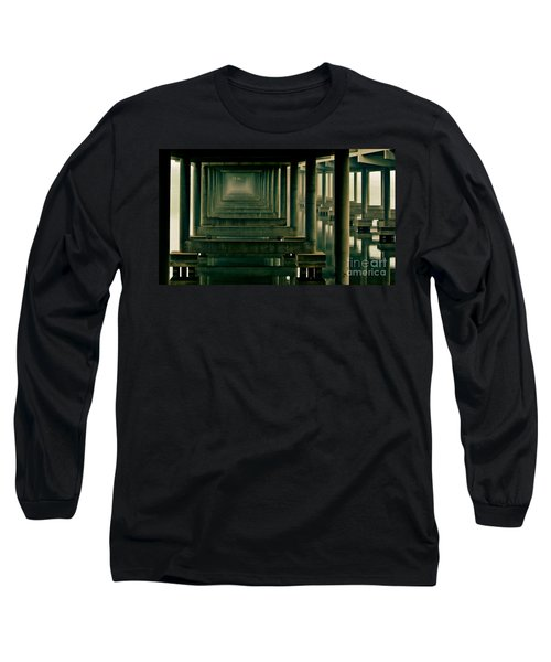 Foggy Morning Under Bridge Long Sleeve T-Shirt by Robert Frederick