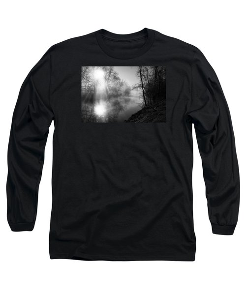 Foggy Misty Morning Sunrise On James River Long Sleeve T-Shirt by Jennifer White