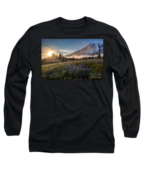 Foggy Rainier Sunset Long Sleeve T-Shirt