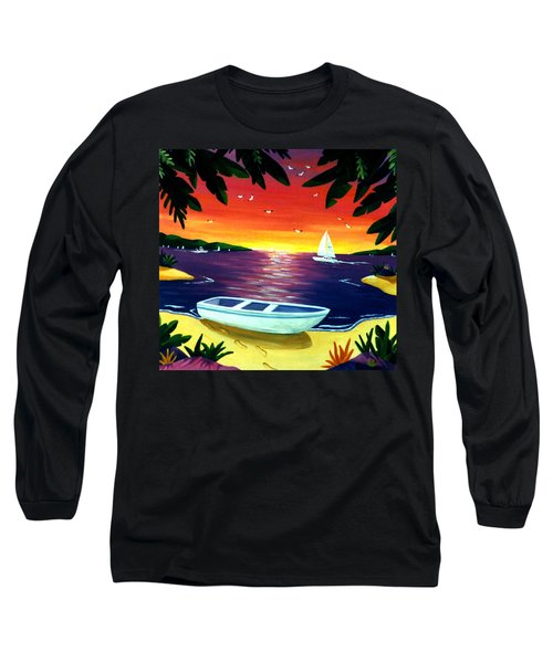 Long Sleeve T-Shirt featuring the painting Footprints In Paradise by Lance Headlee