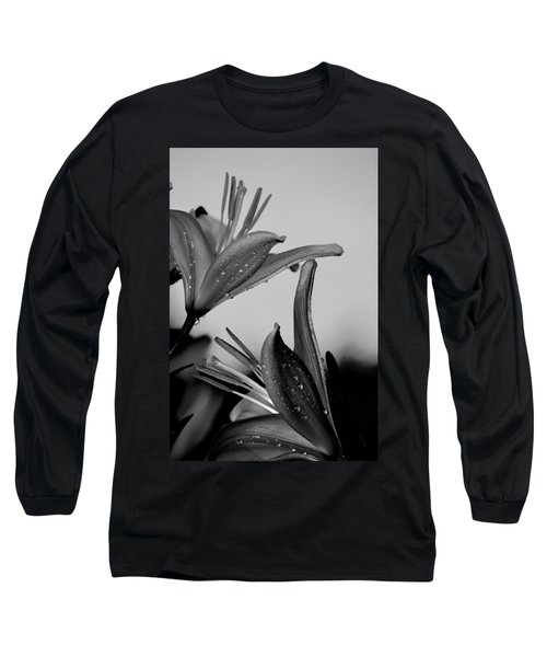 For The Love Of Lillies Bw Long Sleeve T-Shirt by Lesa Fine