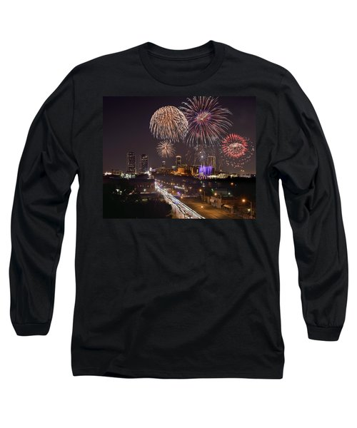 Long Sleeve T-Shirt featuring the photograph Fort Worth Skyline At Night Fireworks Color Evening Ft. Worth Texas by Jon Holiday
