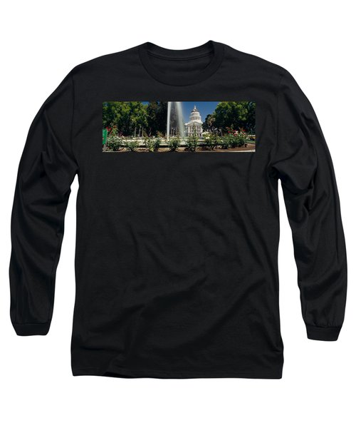 Fountain In A Garden In Front Long Sleeve T-Shirt by Panoramic Images