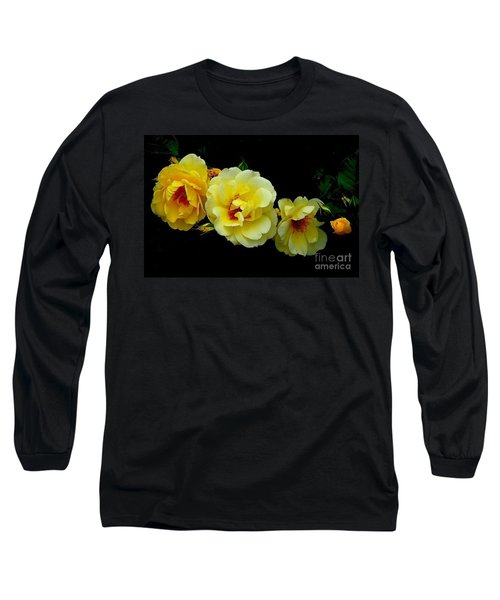 Long Sleeve T-Shirt featuring the photograph Four Stages Of Bloom Of A Yellow Rose by Janette Boyd