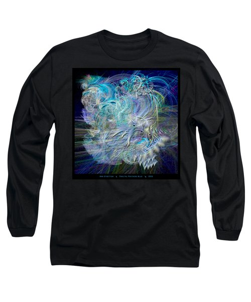 Fractal Feathers Blue Long Sleeve T-Shirt