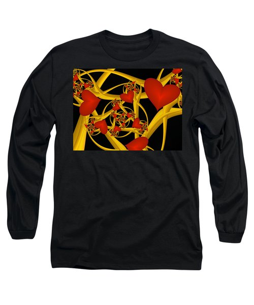 Fractal Love Ist Gold Long Sleeve T-Shirt
