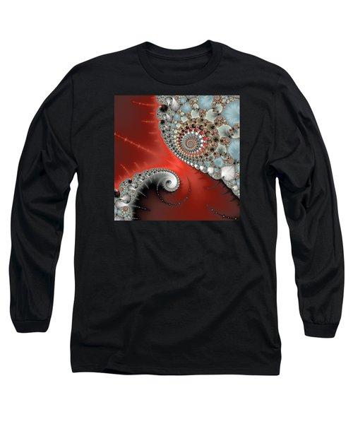 Fractal Spiral Art Red Grey And Light Blue Long Sleeve T-Shirt by Matthias Hauser