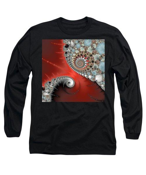 Fractal Spiral Art Red Grey And Light Blue Long Sleeve T-Shirt