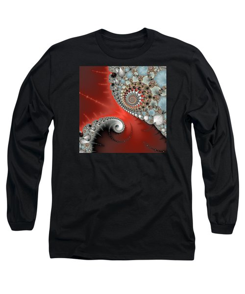 Fractal Spiral Art Red Grey And Light Blue Long Sleeve T-Shirt