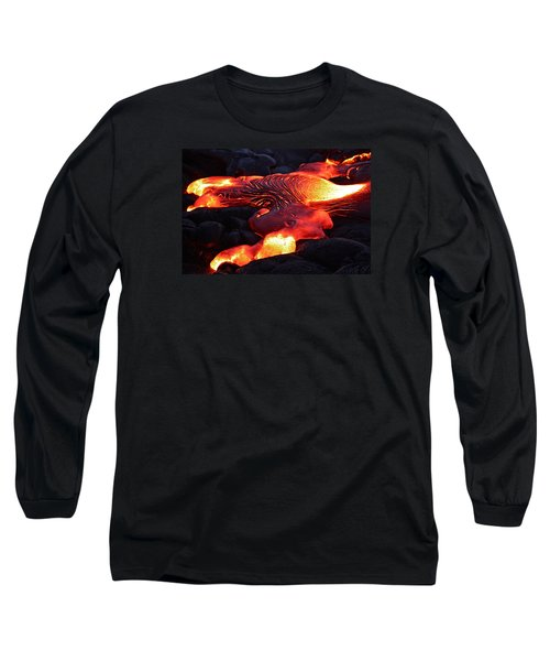 Fresh Lava Flow Long Sleeve T-Shirt by Venetia Featherstone-Witty