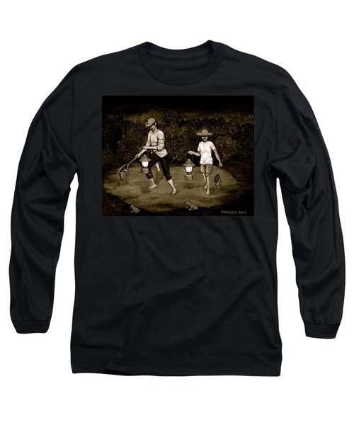 Frog Hunters Black And White Photograph Version Long Sleeve T-Shirt