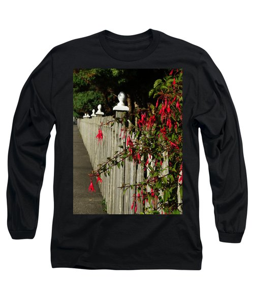 Fuchsias  And Fence Posts Long Sleeve T-Shirt
