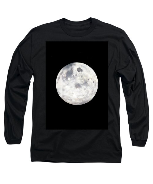 Long Sleeve T-Shirt featuring the painting Full Moon In Black Night by Janice Dunbar