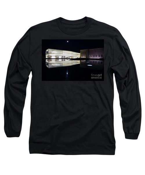 Full Moon Over Nelson Atkins Museum In Kansas City Long Sleeve T-Shirt by Catherine Sherman