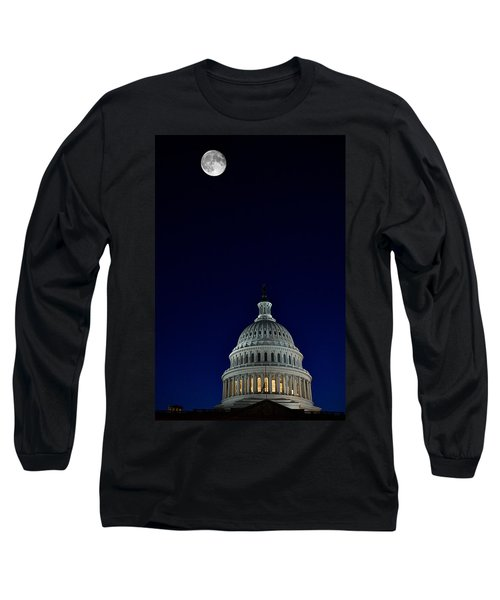 Full Moon Over Us Capitol Long Sleeve T-Shirt by Lawrence Boothby