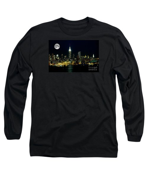 Full Moon Rising - New York City Long Sleeve T-Shirt by Anthony Sacco