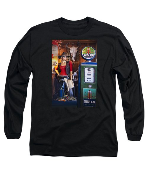 Full Service Route 66 Gas Station Long Sleeve T-Shirt by Priscilla Burgers