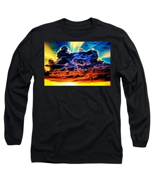 Funky Glowing Electrified Rainbow Clouds Abstract Long Sleeve T-Shirt