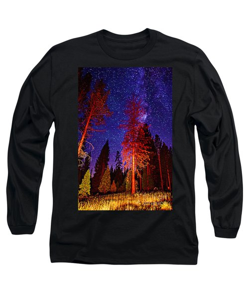 Long Sleeve T-Shirt featuring the photograph Galaxy Stars By The Campfire by Jerry Cowart