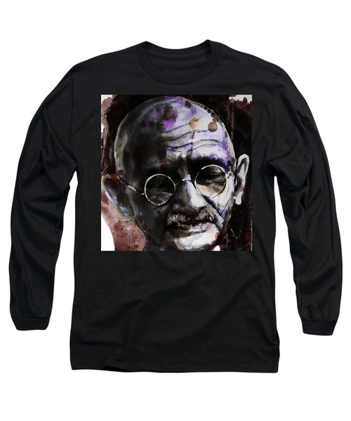 Long Sleeve T-Shirt featuring the painting Gandhi by Laur Iduc