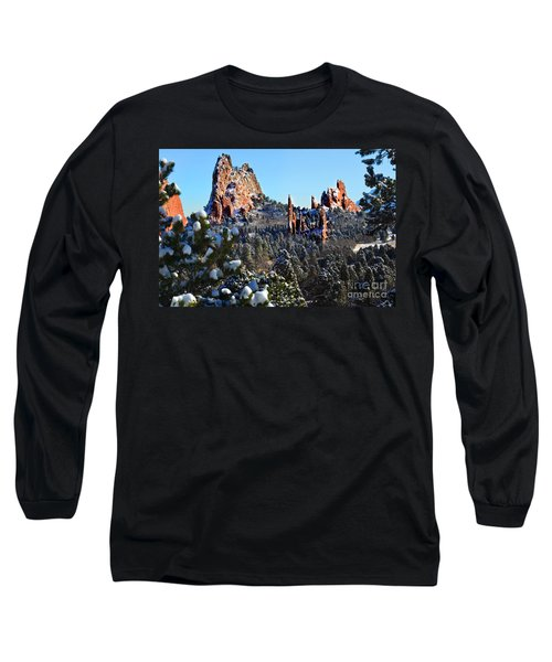 Long Sleeve T-Shirt featuring the photograph Garden Of The Gods After Snow Colorado Landscape by Jon Holiday