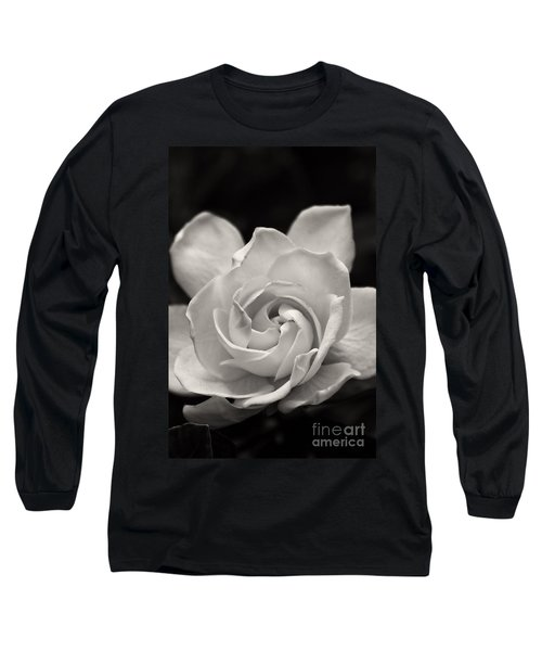 Gardenia Bloom In Sepia Long Sleeve T-Shirt