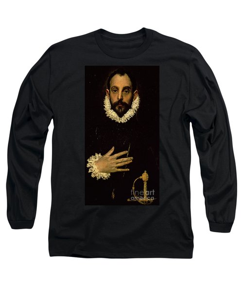 Gentleman With His Hand On His Chest Long Sleeve T-Shirt
