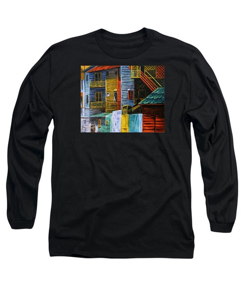 Long Sleeve T-Shirt featuring the painting Geometric Colours I by Xueling Zou