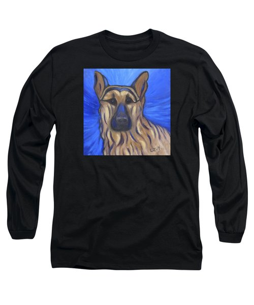 Long Sleeve T-Shirt featuring the painting German Shepherd by Karen Zuk Rosenblatt