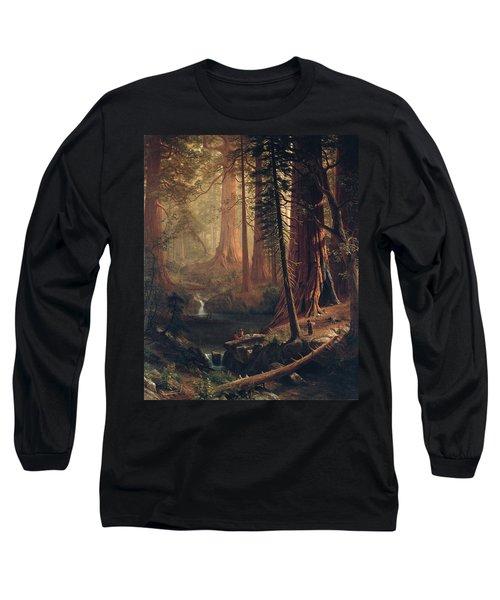 Giant Redwood Trees Of California Long Sleeve T-Shirt by Albert Bierstadt